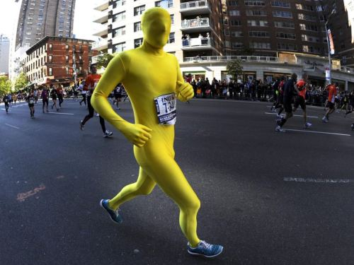 Yellow Body Suit NY Marathon picture: Timothy A Clary