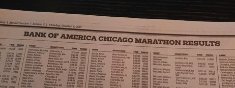 Chicago Tribune Marathon Edition 2017 - koptekst