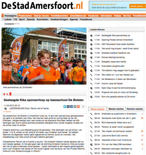 Geslaagde KiKa sponsorloop op basisschool De Bolster. DeStadAmersfoort.nl