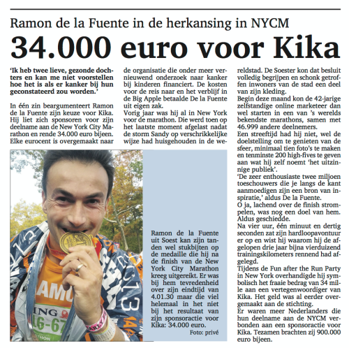 Soester Courant - Ramon de la Fuente - New York City Marathon