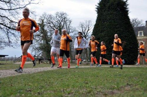 Oranje compressiekousen run