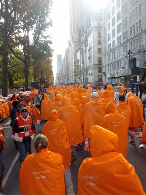 Orange capes - New York Marathon finish