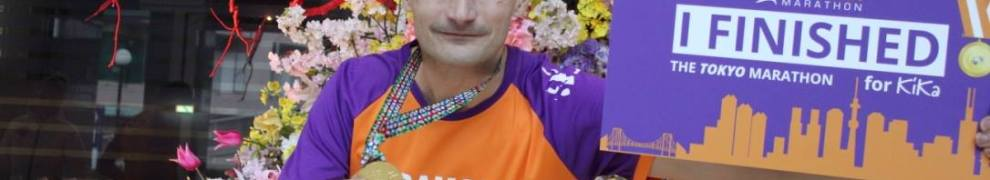 Ramon de la Fuente Tokyo marathon voor KiKa met medaille