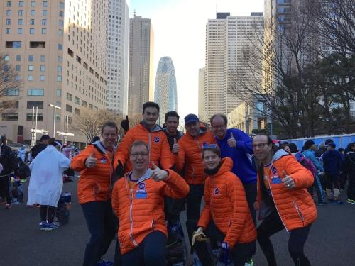 Tokyo Marathon Startgebied met KiKa lopers