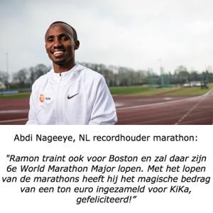 Marathonloper Abdi Nageeye feliciteert Ramon de la Fuente.