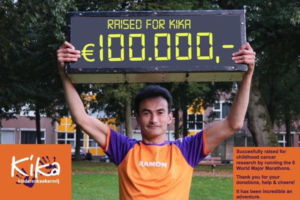 Ramon de la Fuente gaat alle 6 World Marathon Majors lopen en zamelt daarmee meer dan 100.000,- in voor KiKa.