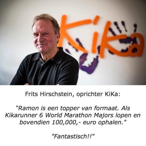 Frits Kirschstein, de oprichter van KiKa bedankt Ramon de la Fuente.